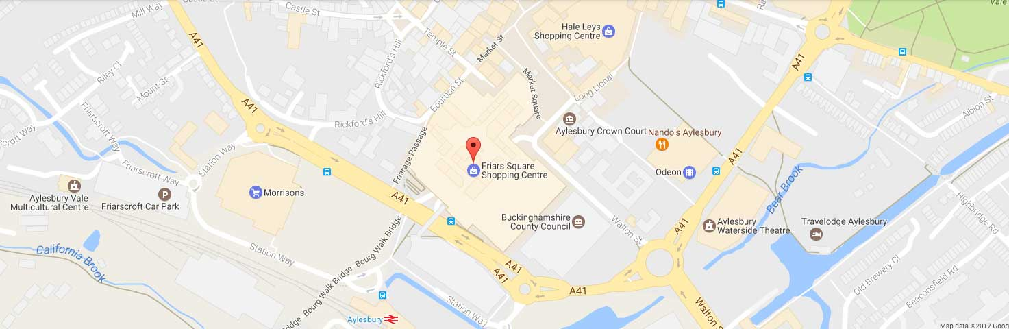 Location of Friars Square in Aylesbury